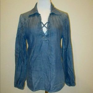 FRAME Denim Lace Up Blouse Hadley Chambray L/S